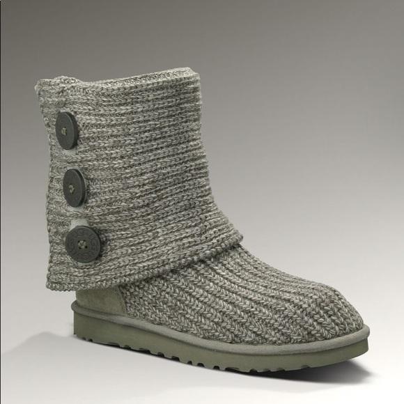 Ugg Shoes Like New Grey Knit Boots Poshmark